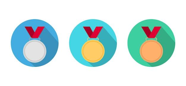Entrega de medallas en círculos de oro, plata y bronce