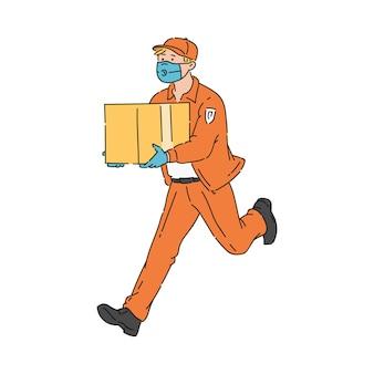Entrega de mercancías de cuarentena de coronavirus y concepto de envío un mensajero en máscara respiratoria y guantes con cajas
