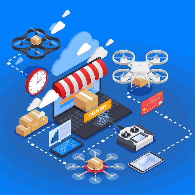 Entrega de mercancías por drones composición isométrica