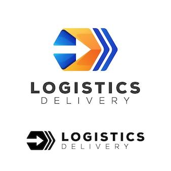Entrega moderna de logística hexagonal con el logotipo de la empresa flecha y la versión del logotipo negro