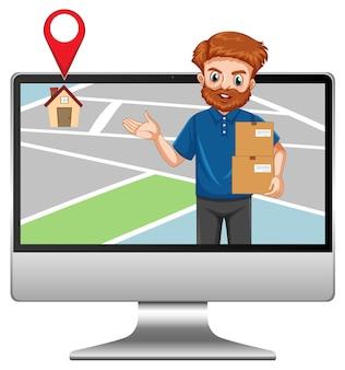 Entrega o mensajero en personaje de dibujos animados uniforme azul en la pantalla de la computadora