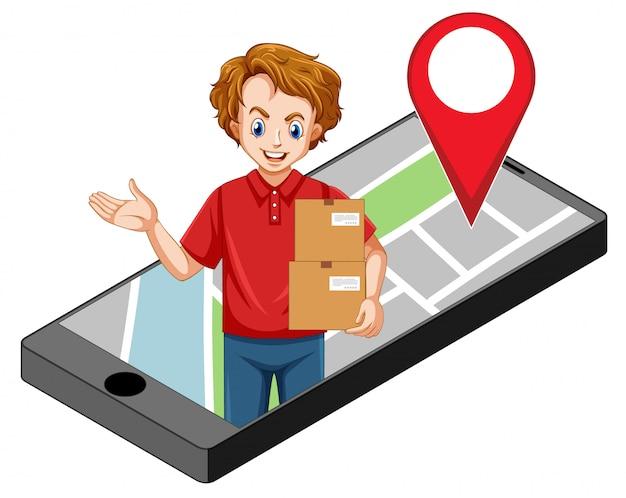 Entrega o mensajero en personaje de dibujos animados uniforme rojo en la pantalla del teléfono inteligente