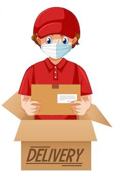 Entrega o mensajero en personaje de dibujos animados uniforme rojo