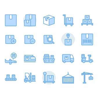 Entrega de paquetes y conjunto de iconos relacionados con la logística