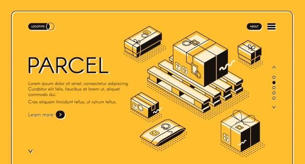 Entrega de paquetes e ilustración logística de correo postal en diseño de líneas finas.