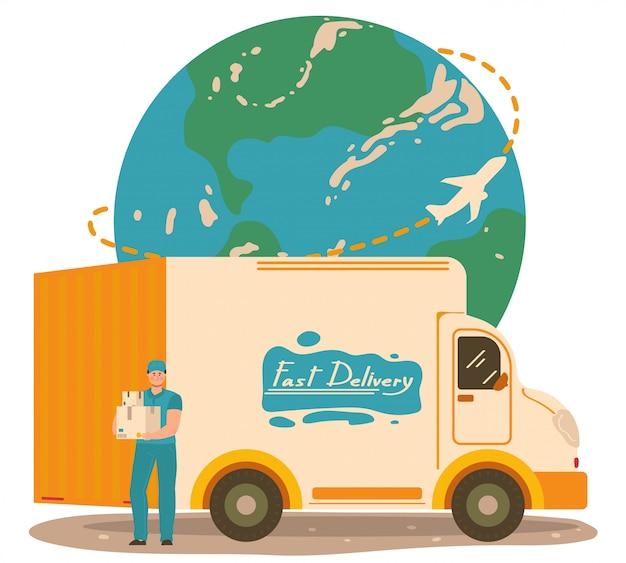 Entrega de paquetes, servicio postal, personaje cartero masculino, camión de reparto, en blanco, ilustración. planeta tierra, mundo rápido, expreso.