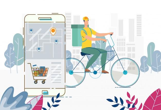 Entrega de pedidos en cualquier lugar canasta de alimentos a través de la aplicación móvil