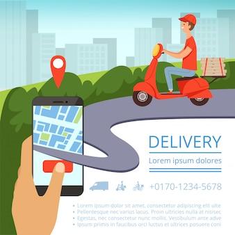 Entrega de pedidos en línea. sistema de seguimiento de envío móvil repartidor hombre motocicleta envío rápido caja de pizza paisaje urbano. imagen