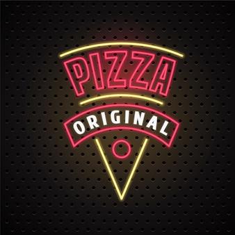 Entrega de pizza con letrero de neón