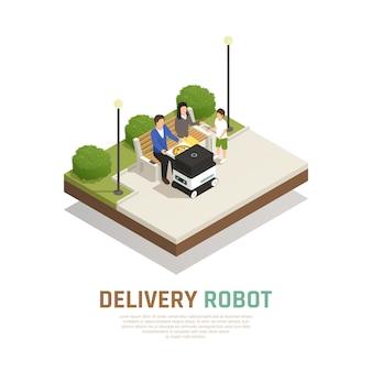 Entrega de pizza mediante transporte robótico sin conductor para la familia que se queda en la composición isométrica al aire libre