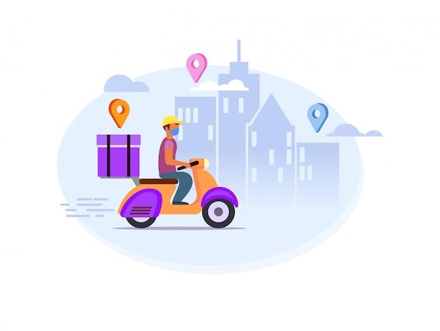 Entrega rápida de alimentos o productos a la puerta y por mensajería con máscara médica, protectora, máscara respiratoria, bicicleta, automóvil. coronavirus, covid 19 cuarentena direcciones de entrega rápida en la ciudad.