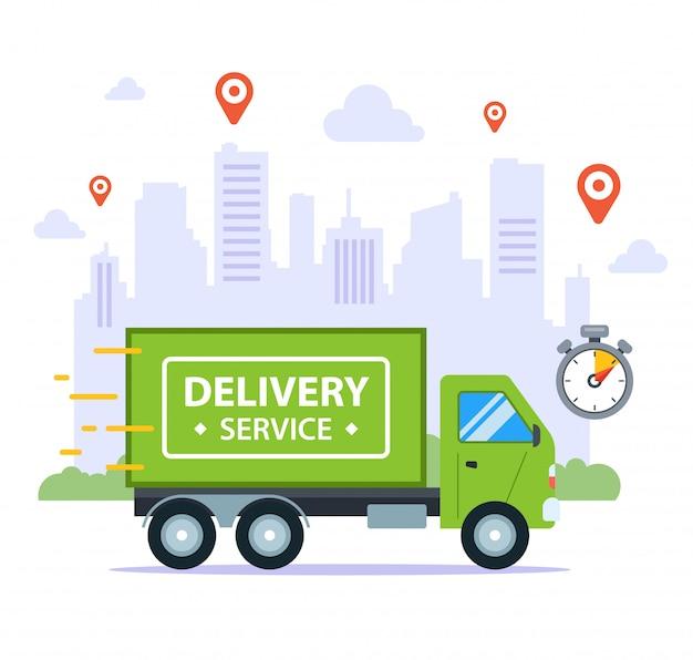 Entrega rápida en camión, en el contexto de la ciudad. precisar el tiempo. ilustración