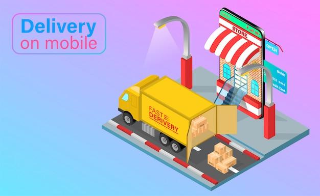 Entrega rápida por camión en teléfono móvil. pedido y paquete de alimentos en línea en comercio electrónico por aplicación. diseño plano isométrico.