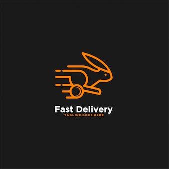Entrega rápida conejo naranja color ilustración logo.