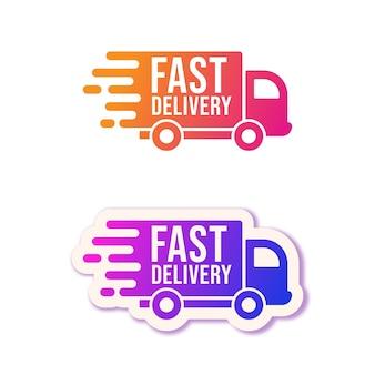 Entrega rápida. conjunto de logotipo de camiones de reparto