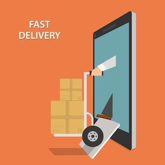 Entrega rápida de mercancías isométrica
