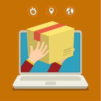 Entrega rápida con paquete saliendo de la computadora portátil