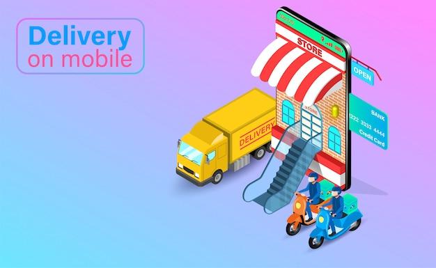 Entrega rápida en scooter y camión en teléfono móvil. pedido y paquete de alimentos en línea en comercio electrónico por aplicación. diseño plano isométrico.