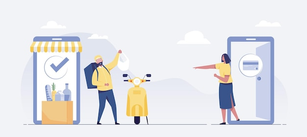 Entrega rápida en scooter en el móvil. concepto de comercio electrónico concepto de entrega de alimentos en línea. ilustración vectorial
