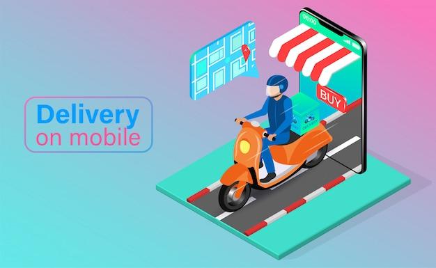 Entrega rápida en scooter en teléfono móvil. pedido y paquete de alimentos en línea en comercio electrónico por aplicación. diseño plano isométrico. ilustración