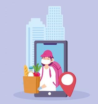 Entrega segura en casa durante el coronavirus covid-19, servicio de mensajería con máscara, teléfono inteligente, pedido de comestibles