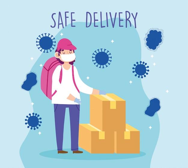 Entrega segura en el hogar durante el coronavirus covid-19, trabajador con máscara protectora y cajas de cartón ilustración
