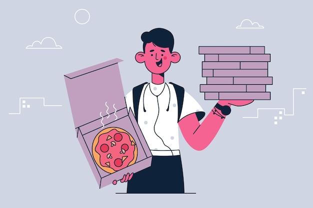 Entrega de servicio de alimentos y ilustración de mensajería.