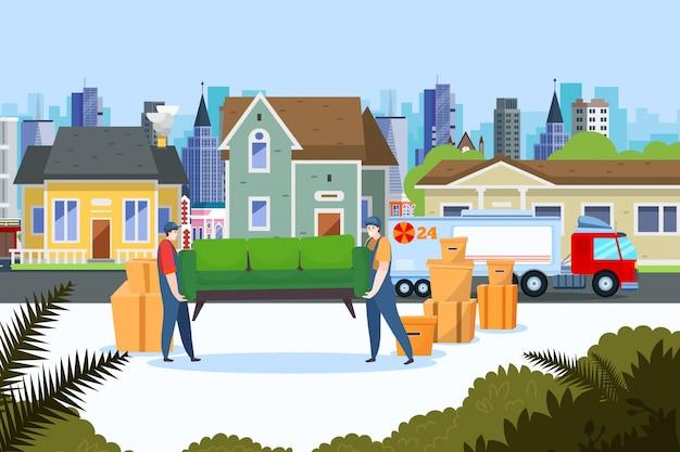 Entrega de servicio de reubicación, ilustración. transporte de bienes raíces, la gente mueve los muebles de la casa al camión.