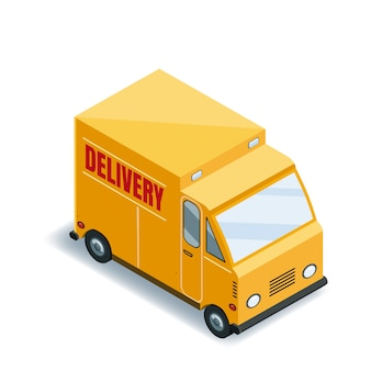 Entrega de transporte de camiones de carga exprés isométrica del concepto de mercancías, logística. entrega rápida o transporte logístico, camión, furgoneta
