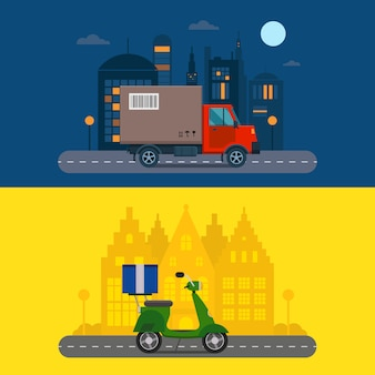 Entrega transporte de carga logística de camiones y scooter de envío.