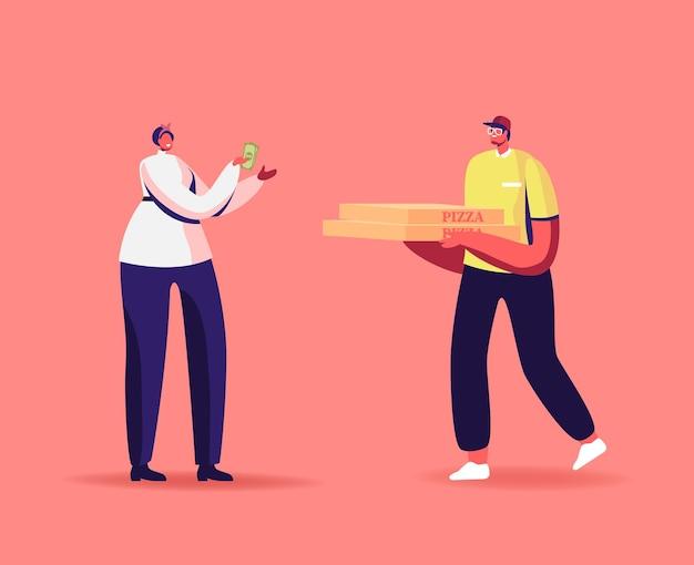 Entrega urgente de comida. personaje de mensajero entrega la caja de pizza al consumidor en el hogar u oficina.