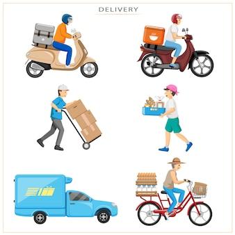 Entrega urgente. lo que desea, o lo que quiere comer, se puede pedir y entregar a su hogar con diversos medios de transporte.