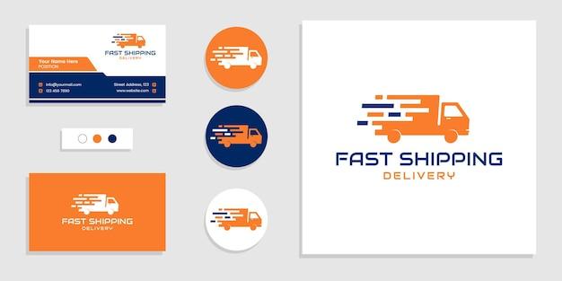 Entrega urgente, logotipo de envío rápido y plantilla de diseño de tarjeta de visita