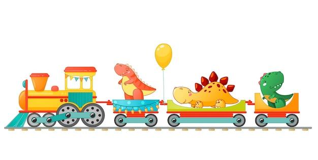 Entrena con lindo dinosaurio en estilo de dibujos animados. vector ilustración colorida para la escuela, diseño de niños en edad preescolar.