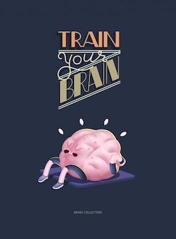 Entrena tu cerebro cartel con letras, corriendo