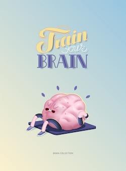 Entrena tu cerebro cartel con letras, cuerpo arriba