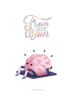 Entrena tu cerebro cartel con letras