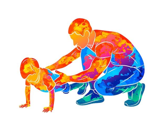 El entrenador abstracto ayuda a un niño a hacer flexiones desde el piso con salpicaduras de acuarelas. ilustración de pinturas. clases de educación física. niños fitness
