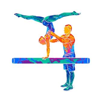 Entrenador abstracto formación joven gimnasta para equilibrarse en la viga de gimnasia de salpicaduras de acuarelas