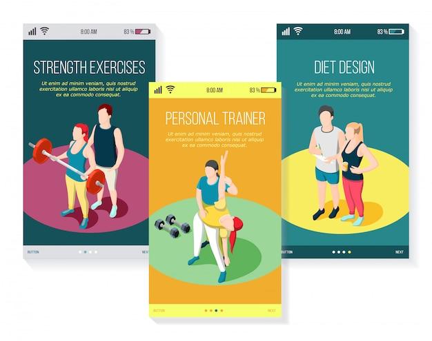 Entrenador deportivo personal ejercicios de fuerza gimnasia y dieta conjunto de pantallas móviles isométricas