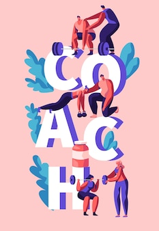 Entrenador de fitness ejercicio banner vertical. asistente de entrenador, entrenamiento personal para hombre y mujer. ejercicio de levantamiento de culturismo y acción para el cuerpo muscular. ilustración de vector de dibujos animados plana