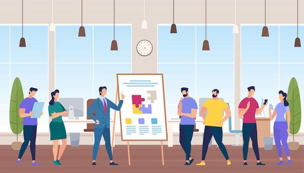 Entrenador en flip board enseñar a trabajar en equipo en la oficina.