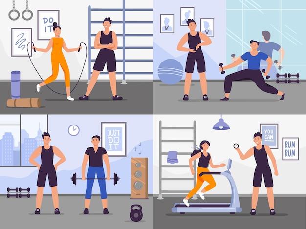 Entrenador de gimnasio. ilustración de vector establece personas entrenando.