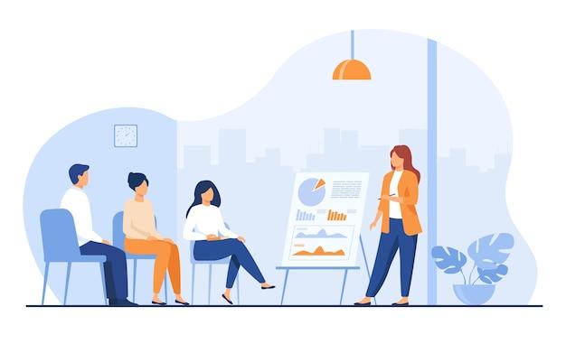 Entrenador hablando ante la audiencia. mentor que presenta gráficos e informes, reunión de empleados en capacitación empresarial, seminario o conferencia. ilustración de vector de presentación, conferencia, educación