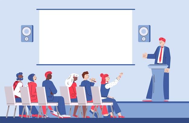 Entrenador orador y grupo de personas reunidas en presentaciones de negocios o conferencias.