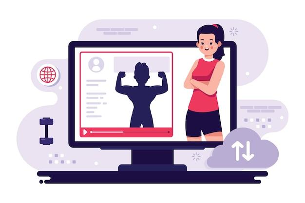 Entrenador personal en línea en computadora