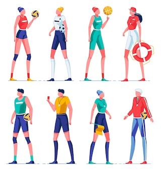 Entrenadores de dibujos animados que enseñan diferentes tipos de deporte.