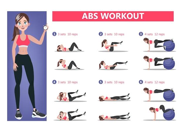 Entrenamiento abs para mujeres. ejercicio deportivo para unos abdominales perfectos. cuerpo en forma y estilo de vida saludable. entrenamiento muscular. ilustración de vector aislado