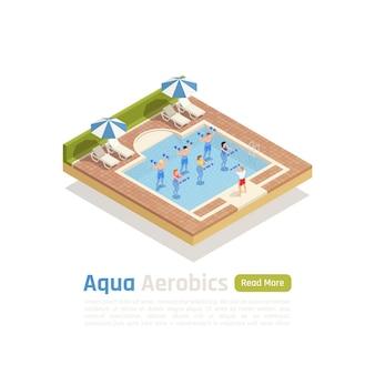 Entrenamiento de aeróbicos acuáticos con composición isométrica de pesas con clase de entrenamiento acuático en el banner de la piscina al aire libre
