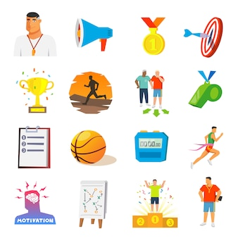 Entrenamiento y deporte iconos planos
